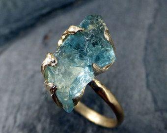 Raw Uncut Aquamarine Ring