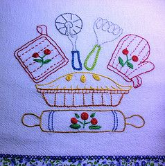 cute motifs for a kitchen towel #embroidery