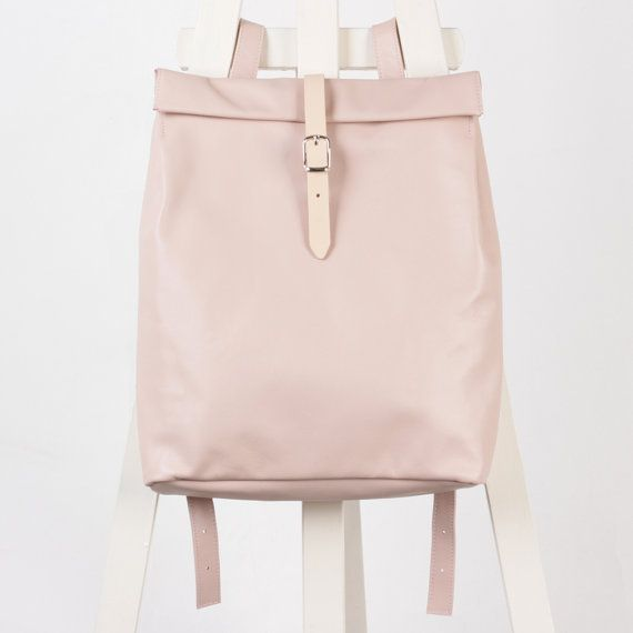 Powder pink leather backpack rolltop rucksack / To by kokosina