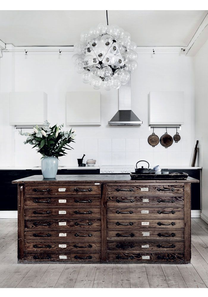 Old file kitchen island/ Home in former toy factory