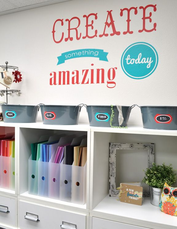 Silhouette America Blog | Fun Craft Room Inspiration and Organization (love the vinyl on the wall!)