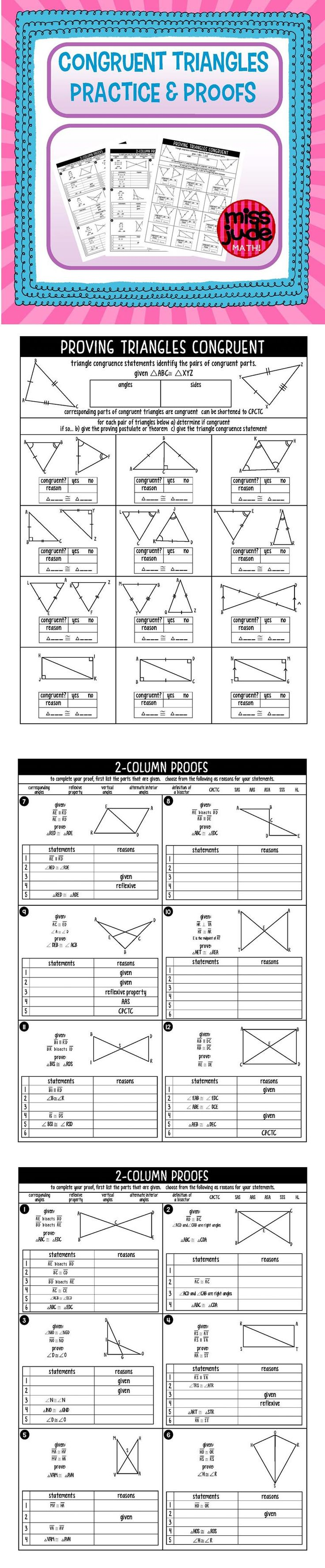 Notes and practice to introduce students to triangle congruence and proving triangles congruent. From the miss jude math! tpt math shop
