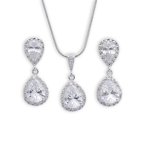 Bridal Jewellery Set with Crystal Earrings and Necklace