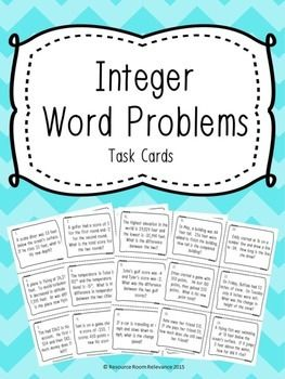 Real life examples of using integers. 24 task cards can be used to reinforce integer concepts. Task card recording sheet and answer key included. Just print, laminate, cut and use for a great classroom activity. Much better than a worksheet! Cards are in color and black and white.