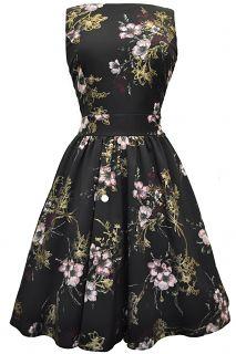 Vintage Floral Dresses | Pastel Pink Floral on Black Tea Dress : Lady Vintage