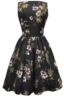 Vintage Floral Dresses | Pastel Pink Floral on Black Tea Dress : Lady Vintage