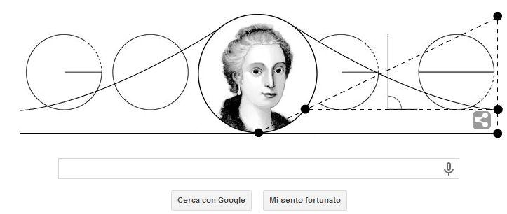 Il Doodle di Google di oggi è dedicato a Maria Gaetana Agnesi, donna e matematica nel Settecento.