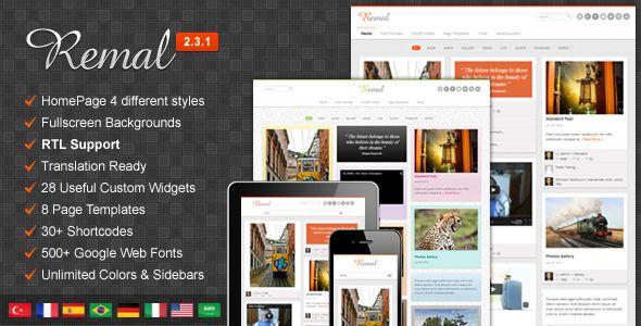 Remal - Responsive Pinterest Like WordPress Blog Magazine Theme with Grid Layout