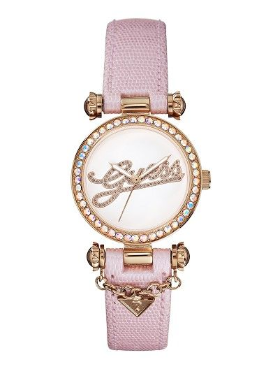 Guess Pink And Rose Gold-Tone Dazzling Iconic Charm Womens Watch