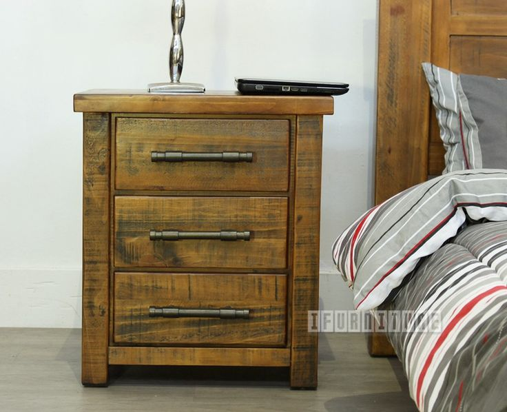 INDUSTRY Rustic 3 Drawer Bedside , Bedroom, NZ's Largest Furniture Range with Guaranteed Lowest Prices: Bedroom Furniture, Sofa, Couch, Lounge suite, Dining Table and Chairs, Office, Commercial & Hospitality Furniturte