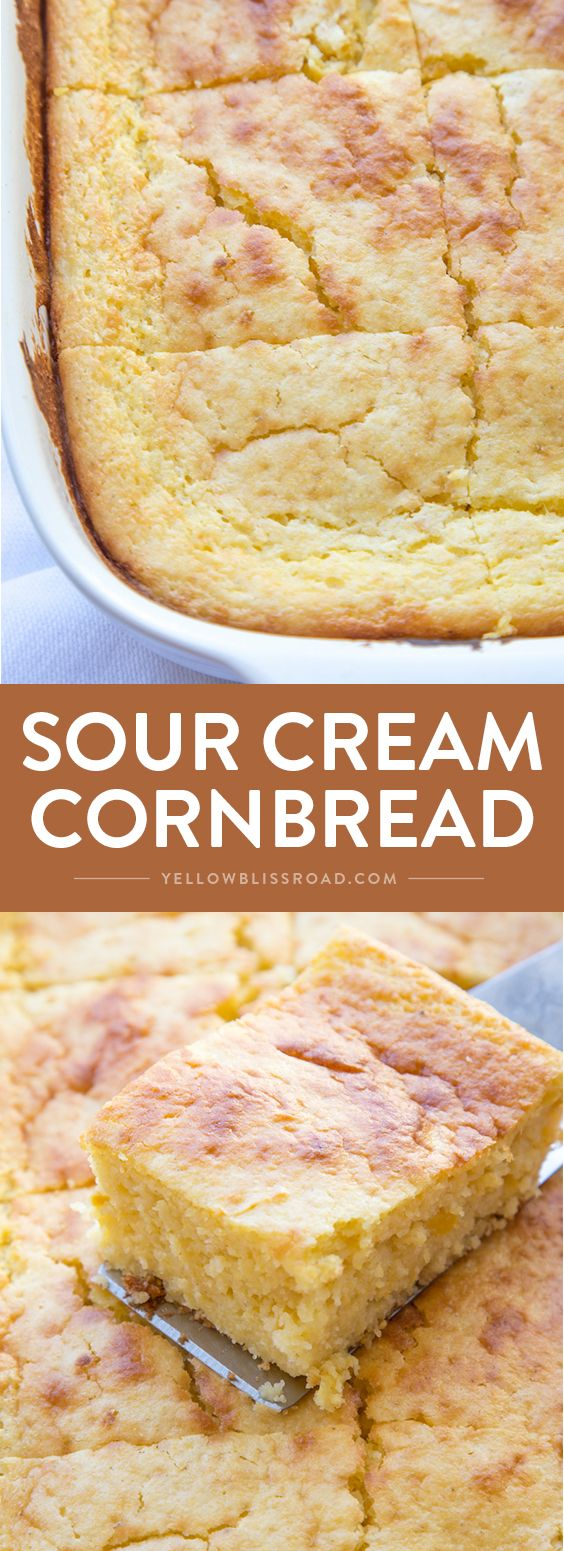 This Sour Cream Cornbread recipe is perfect side dish to your holiday meal or your favorite bowl of soup or chili. via @yellowblissroad