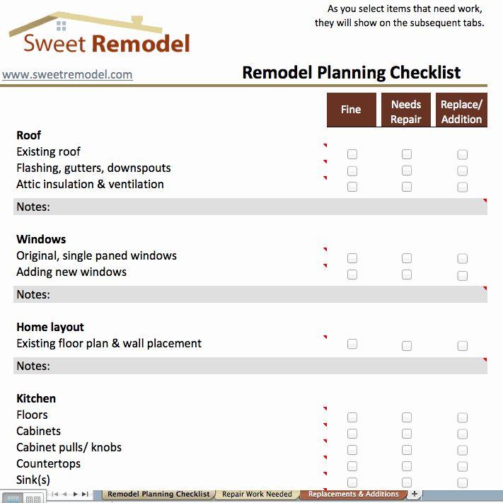 Home Renovation Checklist Template Luxury Remodel Planning Checklist Checklist To Go Through Remodeling Checklist House Renovation Projects Renovation Planner