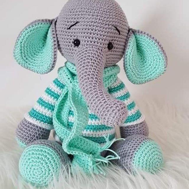 Crochet Elephant Amigurumi Free Pattern with Video | Móviles para ... | 640x640