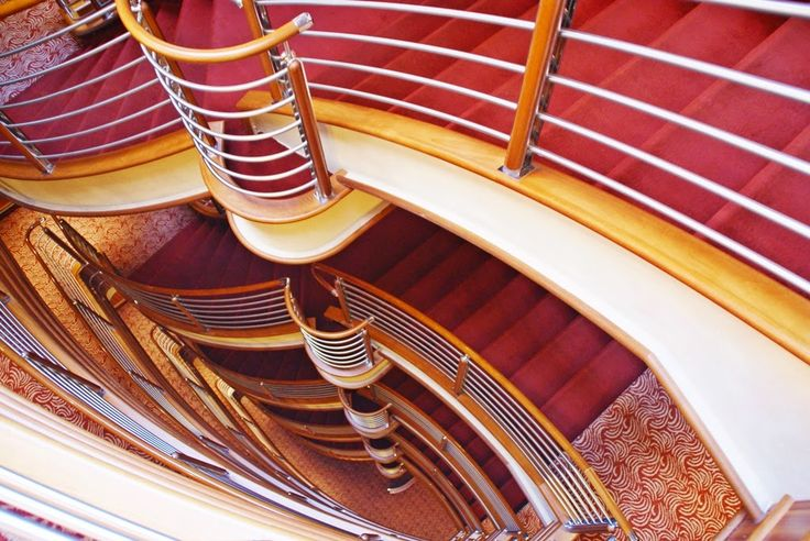 The staircase onboard luxury cruise ship Silver Spirit, Silversea
