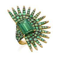 Amsterdam Sauer emerald, tourmaline and diamond ring