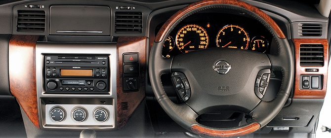 The interior dash view of the NIssan Patrol.