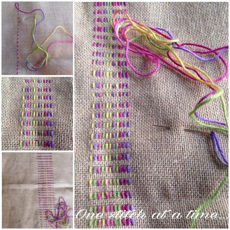 Tussen twee projecten door even iets nieuws uitproberen met lekker vrolijke kleurtjes...  Trying something new... #jute #jutebags #kussen #pillow #newproject #rainbowcolors #vrolijk #kleur #happycolors #borduren #stitch #crossstitch