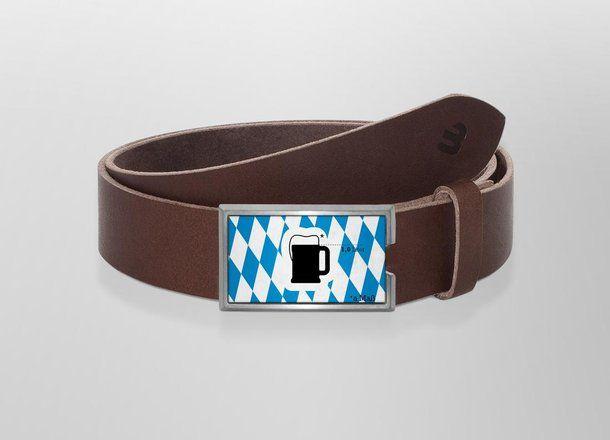 Belt a Maß | Wechselwild Belt with interchangeable designs #belt #buckle #wechselwild #design #bavaria #germany #beer #oktoberfest #Maßkrug #brown