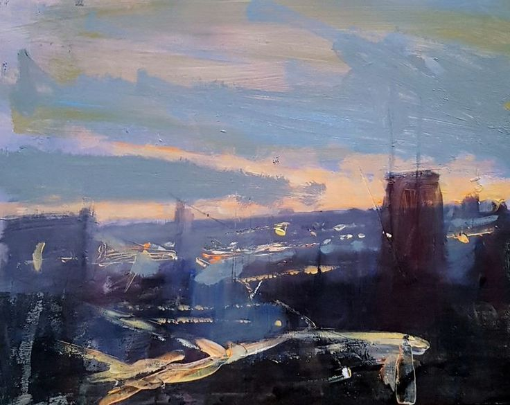"""""""Urban Dusk Series No.6"""" by Paul Mitchell. Mixed Media painting on Panel / Board / MDF, Subject: Architecture and cityscapes, Impressionistic style, One of a kind artwork, Signed certificate of authenticity, This artwork is sold unframed, Size: 30 x 30 cm (unframed), 11.81 x 11.81 in (unframed), Materials: Mixed media on foam  board"""
