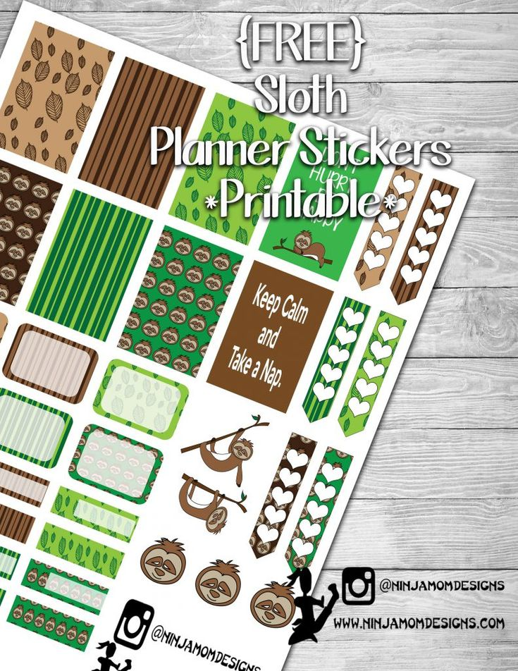 {FREE} Sloth Planner Sticker Printable