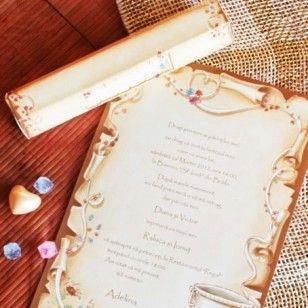 Invitatie de botez tip papirus, cofectionata din carton crem, cu model floral viu colorat si conturat cu auriu.