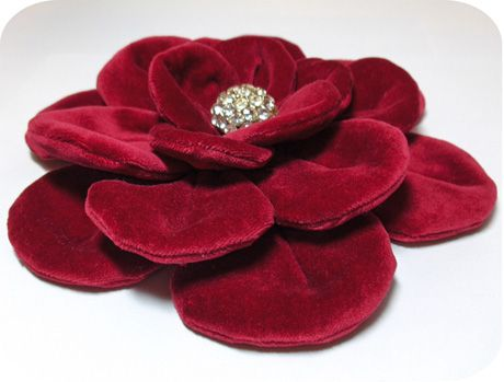 Red velvet flower....would be a great coat pin