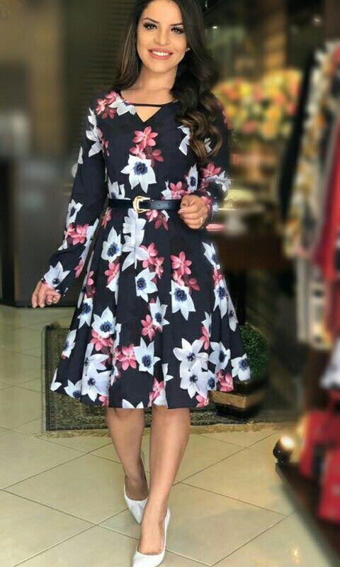 83d629b97 Vestido de manga longa | Roupas | Fashion dresses, Dresses e Classy ...