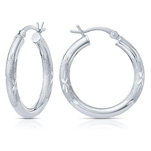 Hoop Earrings 925 Sterling Silver Diamond Cut Circle Hoops