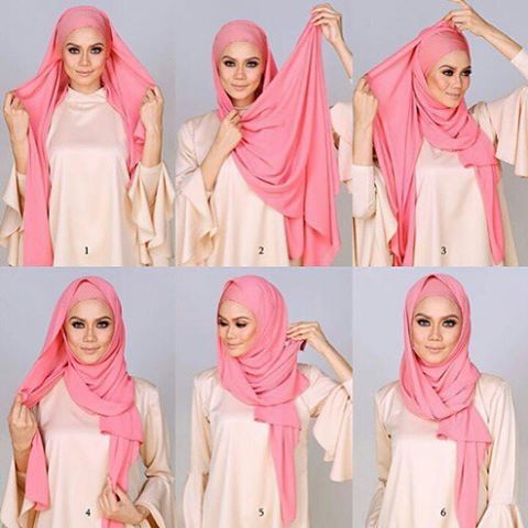 This is an easy beautiful hijab look, tied back for a perfect front line and well secured to keep your hair covered and to keep the hijab from sliding. it suits every face shape as the hijab is well tightened against…