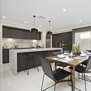 Don T Be Scared To Mix And Match Different Wood Timber Tones In A Room Kitchen By Metricon Homes Featured In The Bomenian Display Home