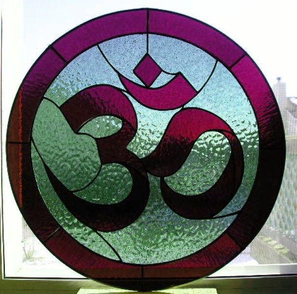 (F1) Hindu Om Symbol Round Stained Glass Window