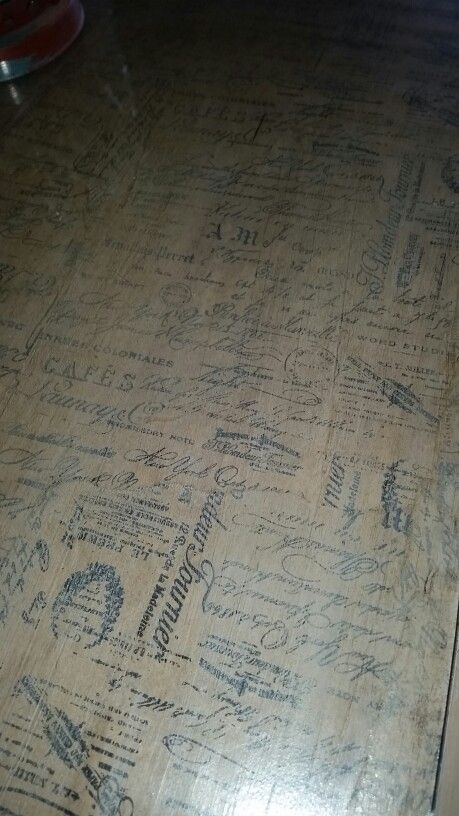 French script decopaged table