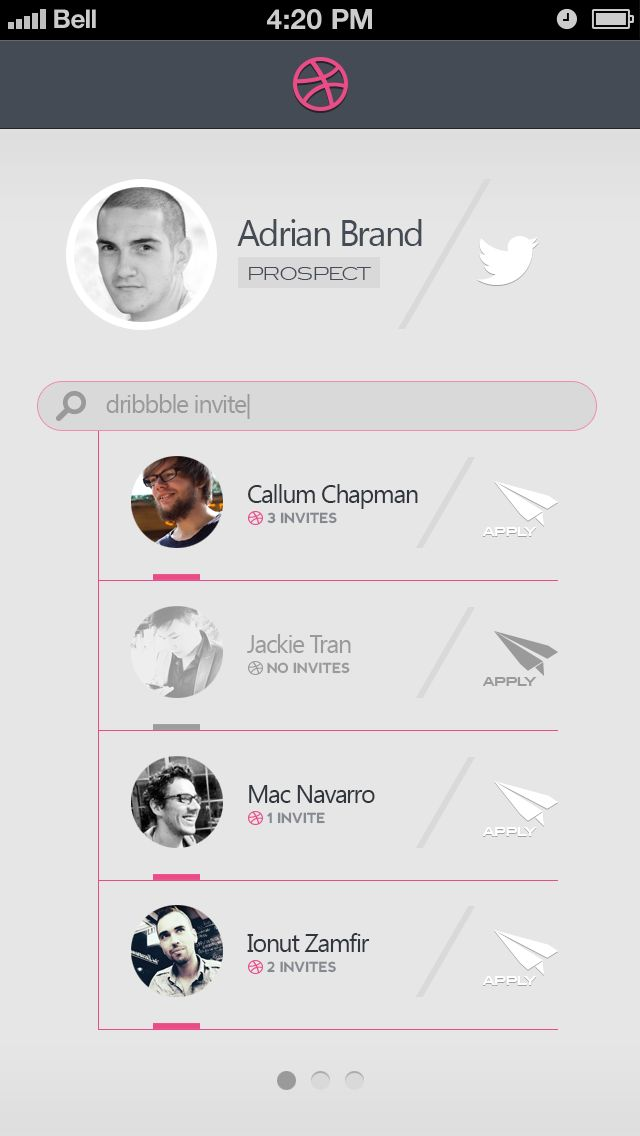 Minimalist Dribbble Invite Search App