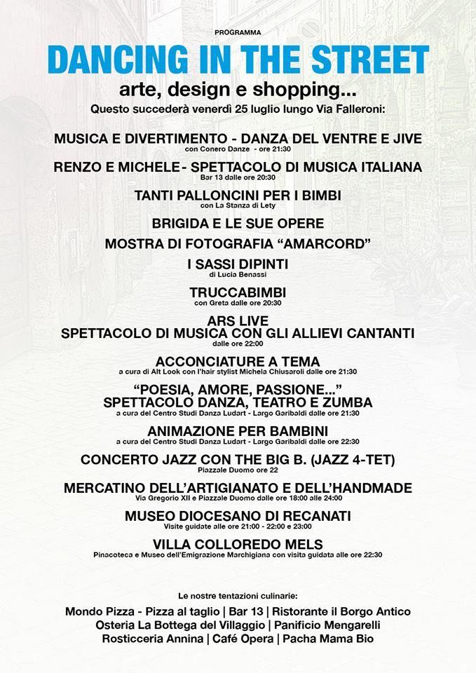 La Dolce Via vi aspetta domani 25 luglio con DANCING IN THE STREET! #ViaFalleroni - #Recanati