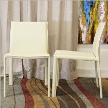 Baxton Studio Crawford Ivory Leather Modern Dining Chair, Set of 2