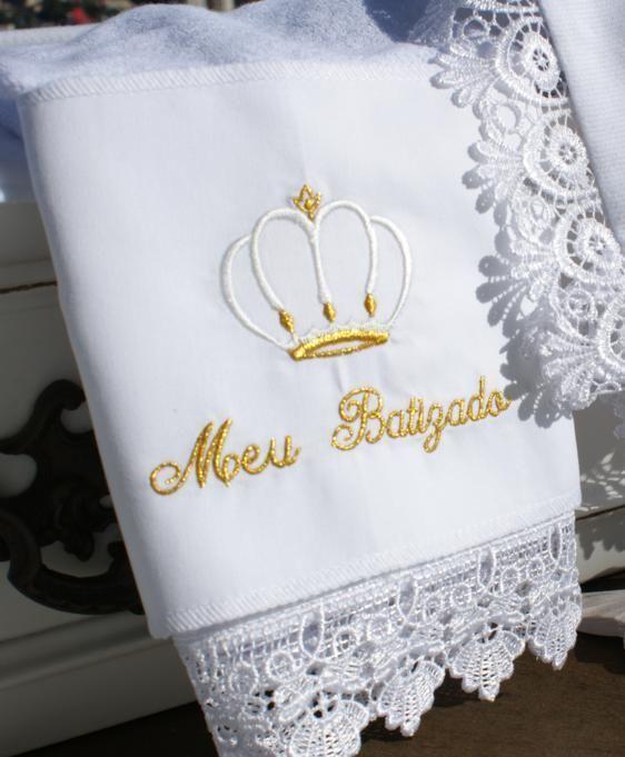 Toalha de boca Meu Batizado Coroa - branco e ouro - Baby Vida