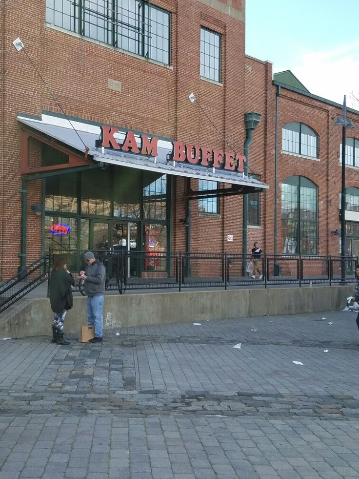The Kam Buffet Chinese restaurant in one of the buildings at the former Roebling manufacturing complex in Trenton, New Jersey. The restaurant saw increased foot traffic from patrons of the Trenton Punk Rock Flea Market at the Historic Roebling Wireworks building nearby, especially when the restroom facilities at the Wireworks broke for several hours on Saturday afternoon.