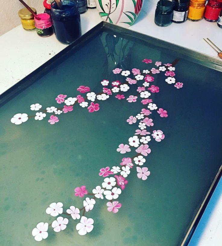 Kiraz Çiçeği (Sakura) - Marbling Artist Firdevs Çalkanoğlu