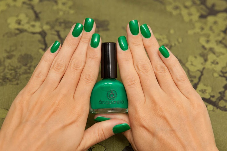 Acquarella water based nail polish in Wicked (green).
