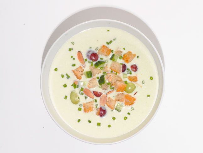 "White Gazpacho ""Ajo Blanco"" - Bon Appétit chilled soup cold soup summer soup"
