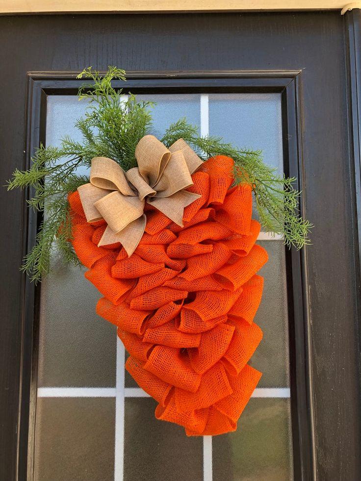 Farmhouse Easter Wreath Carrot Wreath; Burlap Easter