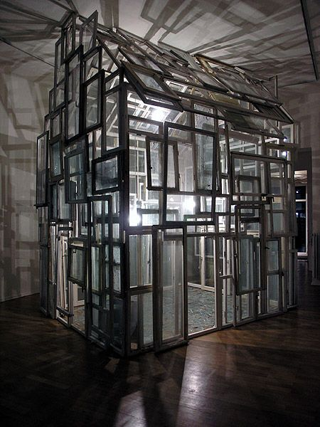Chiharu Shiota house of windows, ca. 200 old wooden windows