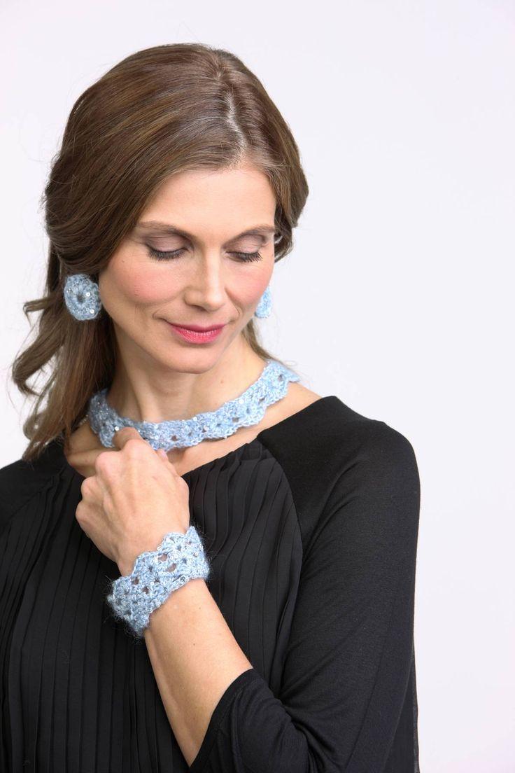 Crochet neckless, earrings and bracelet. Yarn: Artyarns Beaded Mohair & Sequins. Published in Familien 1/2015.