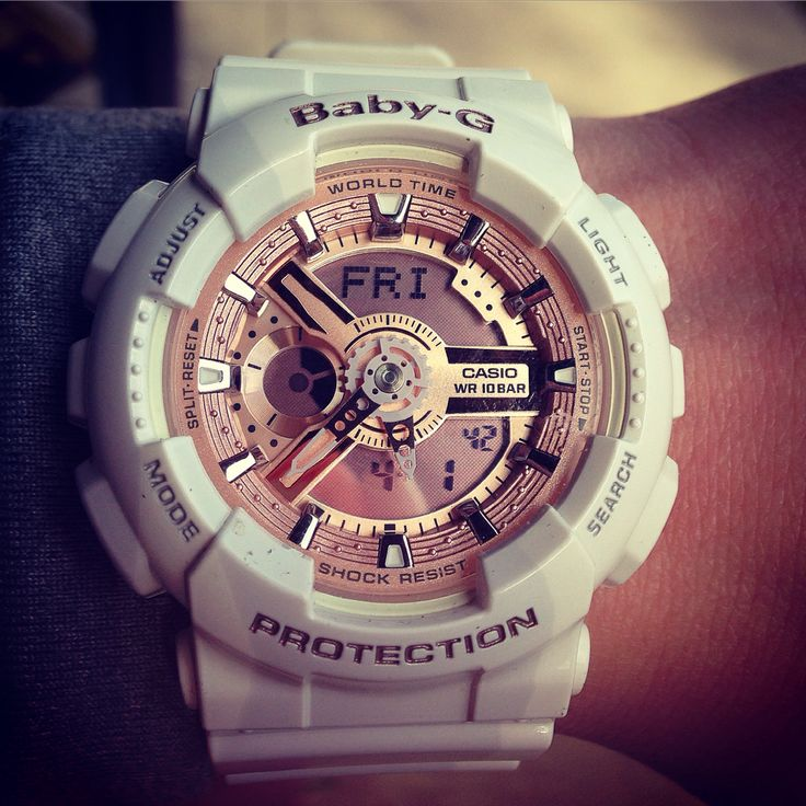 Baby-g rose gold and white watch. Gshock watch. G-shock watch women's