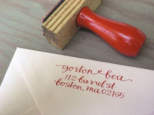Instead of printing 500+ return address labels for thank you's, invites, save the dates and replies, get a stamp! Buy them on Etsy.