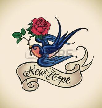 tatouage: La vieille école de style de tatouage avec une hirondelle, bannière et rose Illustration
