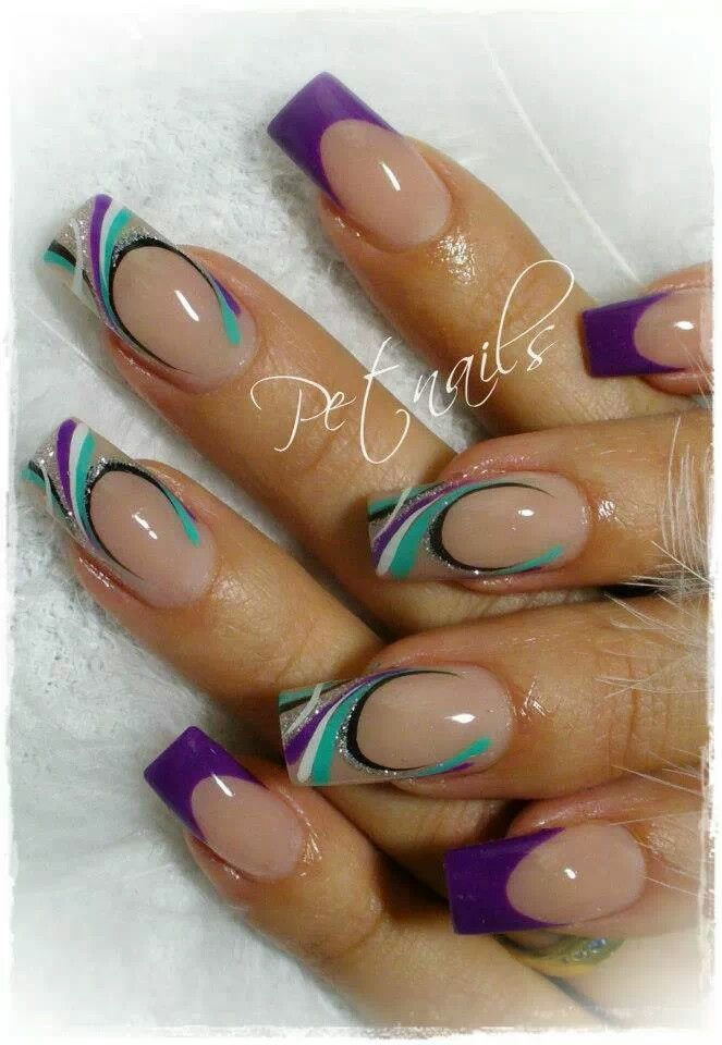 6364 funky french tip nails