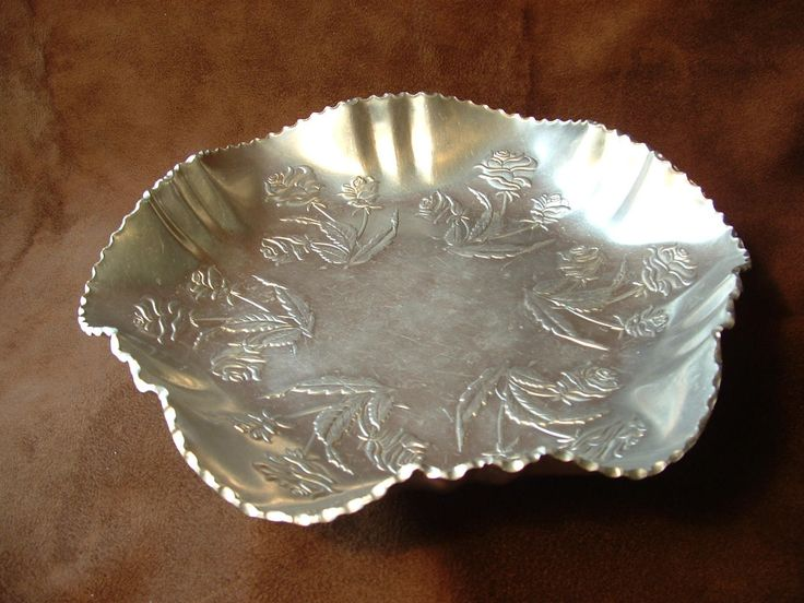 Silver Look Hand Forged Aluminum Serving Tray With Embossed Rose Pattern Vintage Hammered