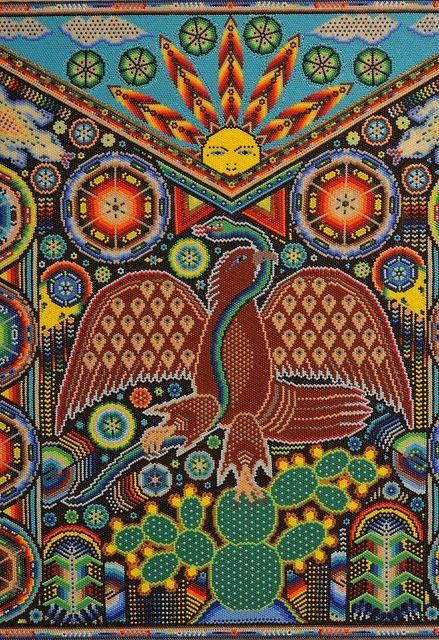 huichol arte - bandera de Mexico