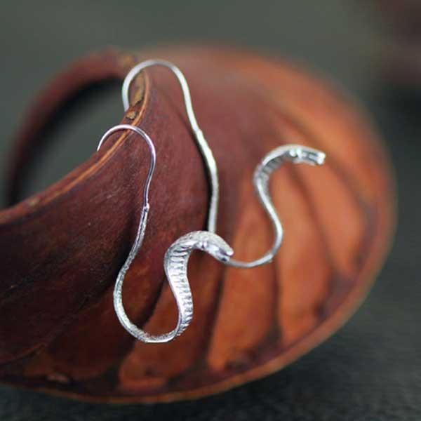 Cobra Silver Earrings @ Fig & Wattle #jewellery #jewelry #creatures #bee #honeybee #lovebird #butterfly #owl #hoot #bird #parrot #cobra #cat #dragonfly #silver #handmade #sterlingsilver #figandwattle